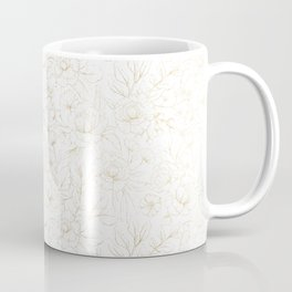 Elegant simple modern faux gold white floral Coffee Mug