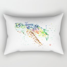 Sea Turtle Colorful Watercolor Painting Rectangular Pillow