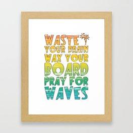 Rainbow Gradient Surfing Movie Quote Framed Art Print
