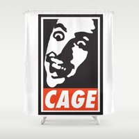 obey Shower Curtains featuring OBEY: NICK CAGE by MDRMDRMDR