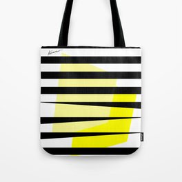 Yellow Abstract Black Stripes Tote Bag