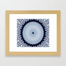 Lovely Healing Mandala  in Brilliant Colors: Black Blue, Gray and White Framed Art Print