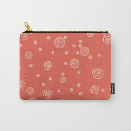 Doodle polka dots - pale red guava Carry-All Pouch
