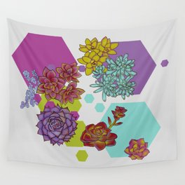 Succulents and Hexagons Wall Tapestry