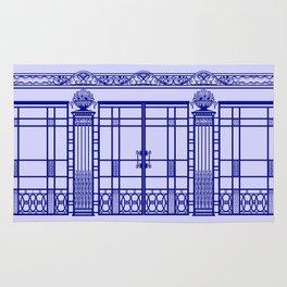 ART DECO, ART NOUVEAU IRONWORK: French Blue Rug