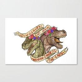 Dinosaur Eat Man. Woman Inherits the Earth Canvas Print