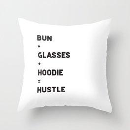 HUSTLE = BUN + GLASSES + HOODIE | BLACK Throw Pillow