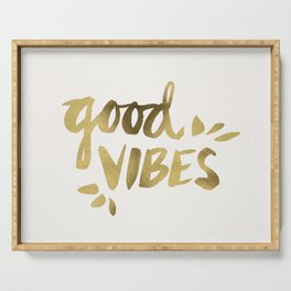 Good Vibes – Gold Ink Serving Tray