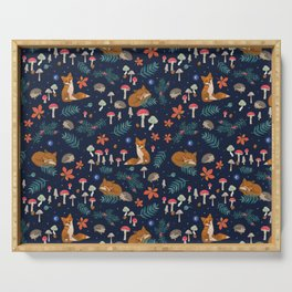 Fox and Hedgehog in Toadstool Woods In Blue Serving Tray