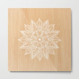 Leaf mandala - wood Metal Print