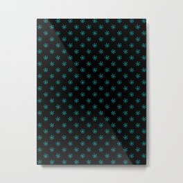 Cyan on Black Snowflakes Metal Print