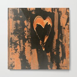 Liquid Copper Heart Metal Print