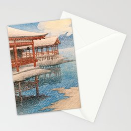 Kawase Hasui - Travel Souvenir Second Collection, Miyajima, Snow Of Fine Weather Stationery Cards