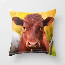 Cow close up watercolor painting #1 Throw Pillow
