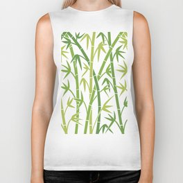 vector background with green bamboo stems Biker Tank
