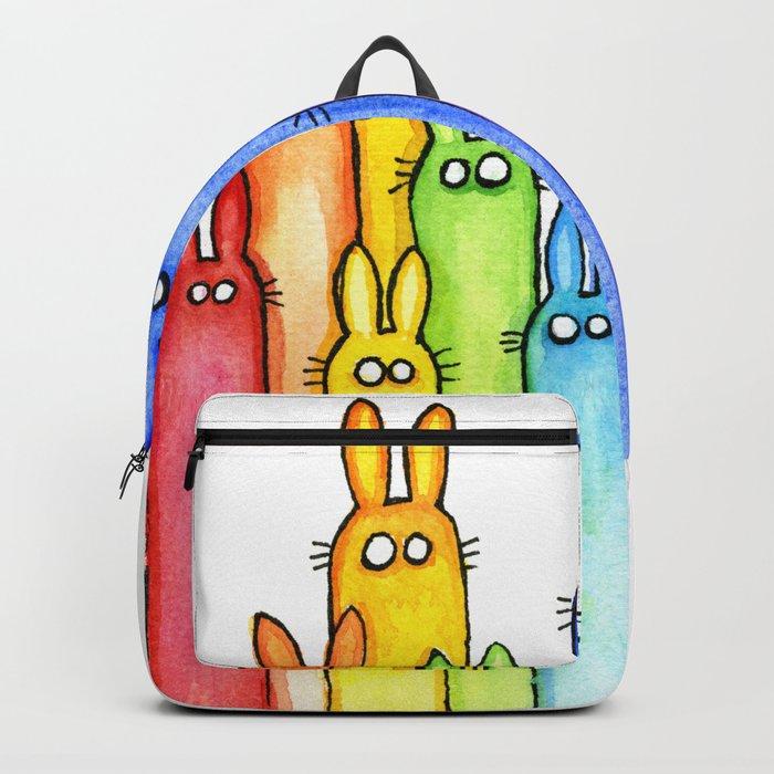 Rainbow of Bunny Rabbits Watercolor Backpack