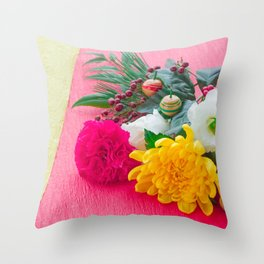 The Decoration Flower Of New Year Throw Pillow