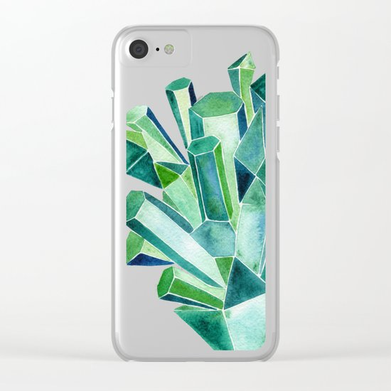 Emerald Watercolor Clear iPhone Case