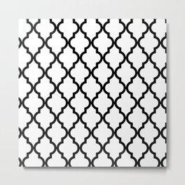 Moroccan Quatrefoil Pattern: Black & White Metal Print
