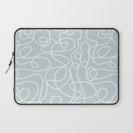 Doodle Line Art | White Lines on Silvery Blue Laptop Sleeve