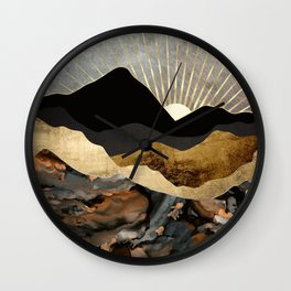 Copper and Gold Mountains Wall Clock