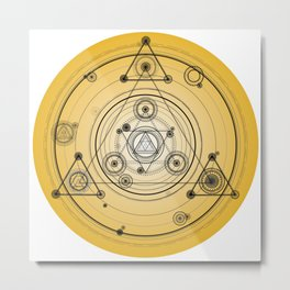 Yellow geometric circle with sacred geometry symbols Metal Print