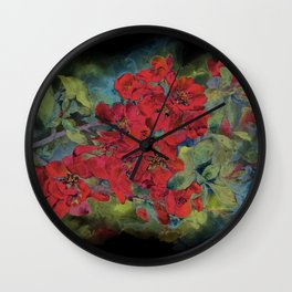 The flowering quince . Black background Wall Clock