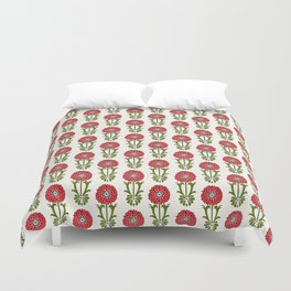 Dot Floral in Red Duvet Cover