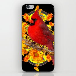 RED CARDINAL SUNFLOWERS BLACK ART iPhone Skin
