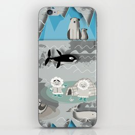 Arctic animals grey iPhone Skin