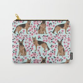 German Shepherd cherry blossom dog breeds florals pet friendly dog patterns Carry-All Pouch