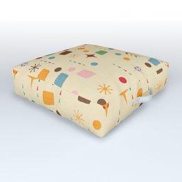 Atomic Pattern Beige Blue  #midcenturymodern Outdoor Floor Cushion
