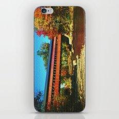 Call bridge on burlap iPhone & iPod Skin
