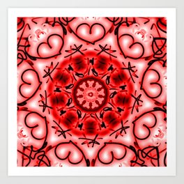 Red Heart Valentine Mandala Art Print