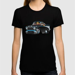Classic hot rod fifties muscle car with cool couple cartoon T-shirt