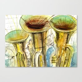 Tubas playing Canvas Print