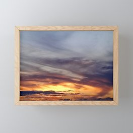 Grey clouds and yellow sunset Framed Mini Art Print