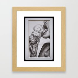 Erotic lick - girl licking ice cream erotically Framed Art Print