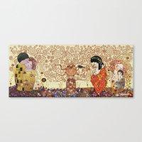 klimt Canvas Prints featuring Kokeshis Klimt by Pendientera