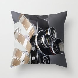 Retro mechanical movie camera and reel film Throw Pillow