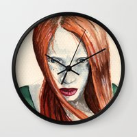 ginger Wall Clocks featuring Ginger by Roxie Emm