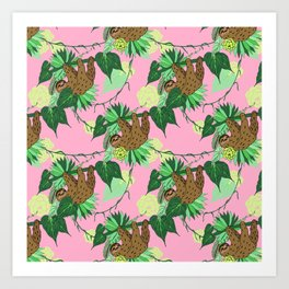 Sloth - Green on Pink Art Print