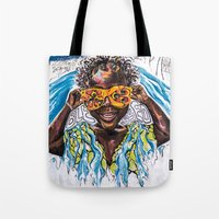 "jamaica Tote Bags featuring ""Ackee Eyes"" / PAINT JAMAICA by PAINT JAMAICA"