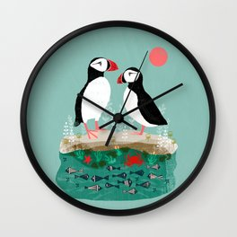 Puffins - Bird Art, Shorebird, Sea bird, birds, Cute illustration by Andrea Lauren Wall Clock