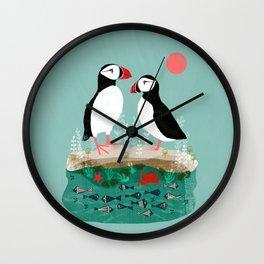 Puffins - Bird Art, Shorebird, Sea bird, birds, Cute illustration by Andrea Lauren Wall Clock