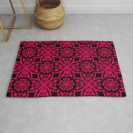 Seamless crimson red romantic floral ornament lace black background Rug