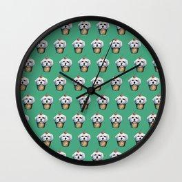 """Cherry on Pup"" Maltese Cake Pattern Green Wall Clock"
