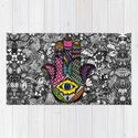 Colorful Hand Drawn Hamsa Hand an Floral Drawings by blackstrawberry