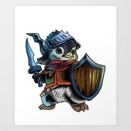 Knight Penguin  Warrior  Sword Cavalier Rider Gift Art Print
