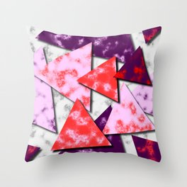 Triangles Layered Pattern in Red Purple and Pink Throw Pillow
